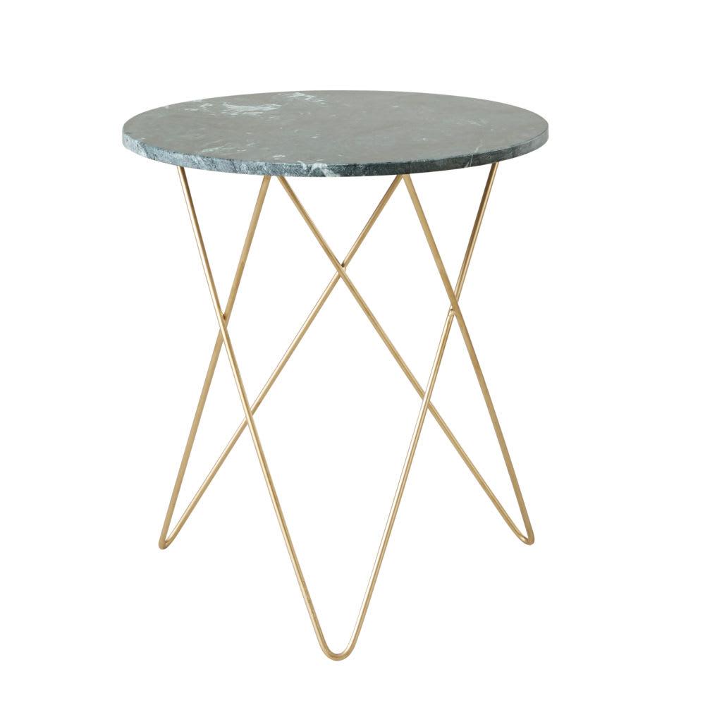 beistelltisch aus gr nem marmor und goldfarbenem metall. Black Bedroom Furniture Sets. Home Design Ideas