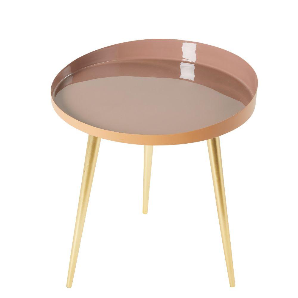 beistelltisch aus metall rosa und goldfarben anemone. Black Bedroom Furniture Sets. Home Design Ideas