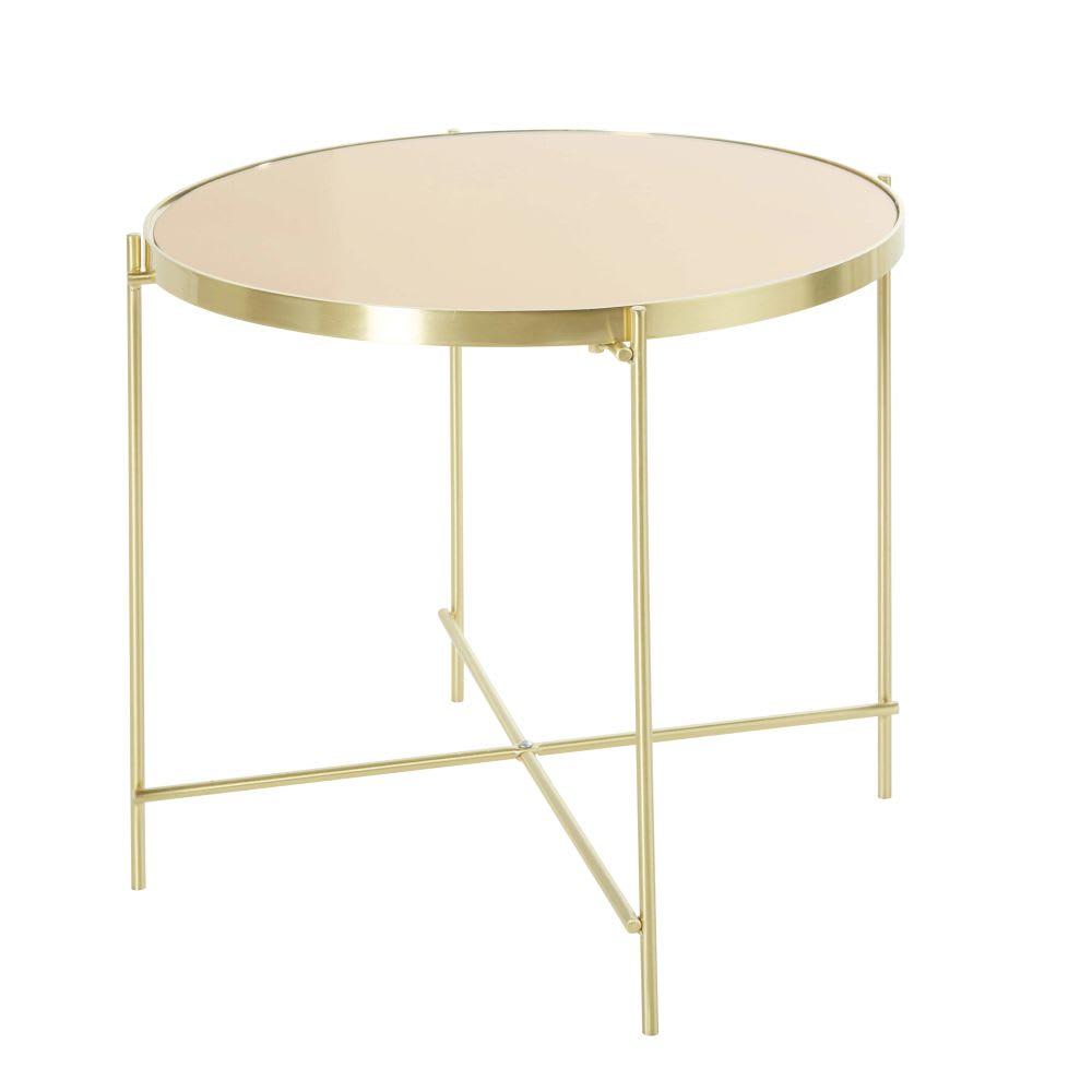 beistelltisch aus metall und glas goldfarben everly. Black Bedroom Furniture Sets. Home Design Ideas