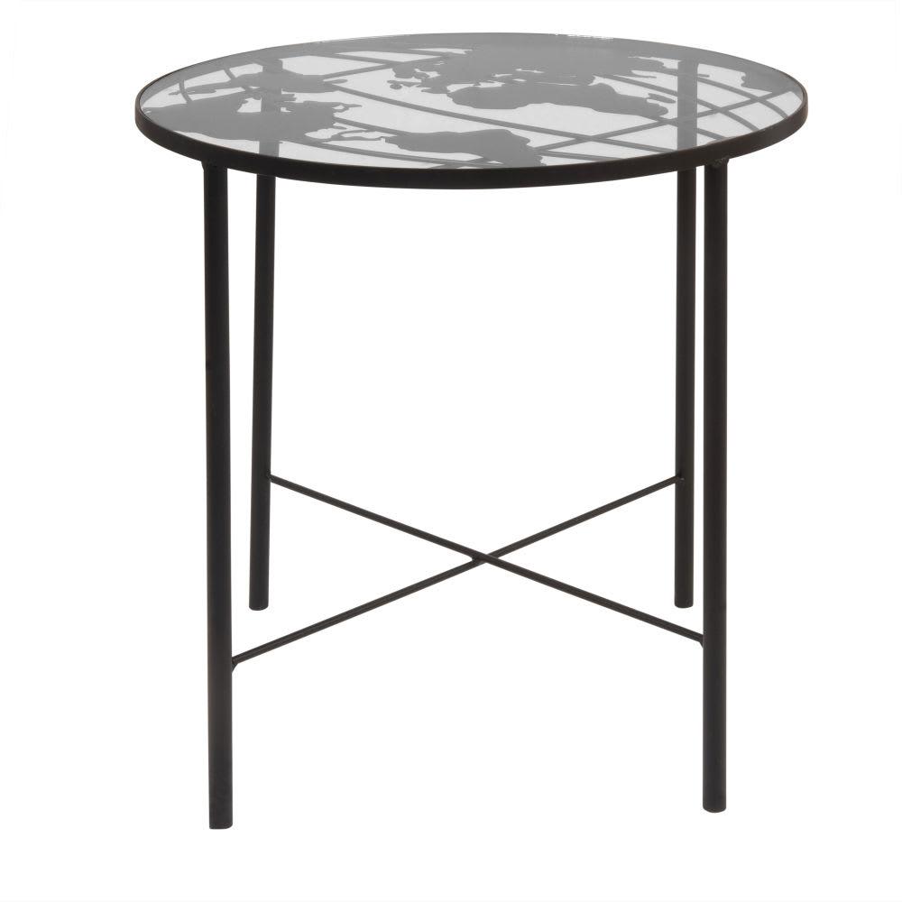 beistelltisch aus metall und glas mit aufgedruckter. Black Bedroom Furniture Sets. Home Design Ideas