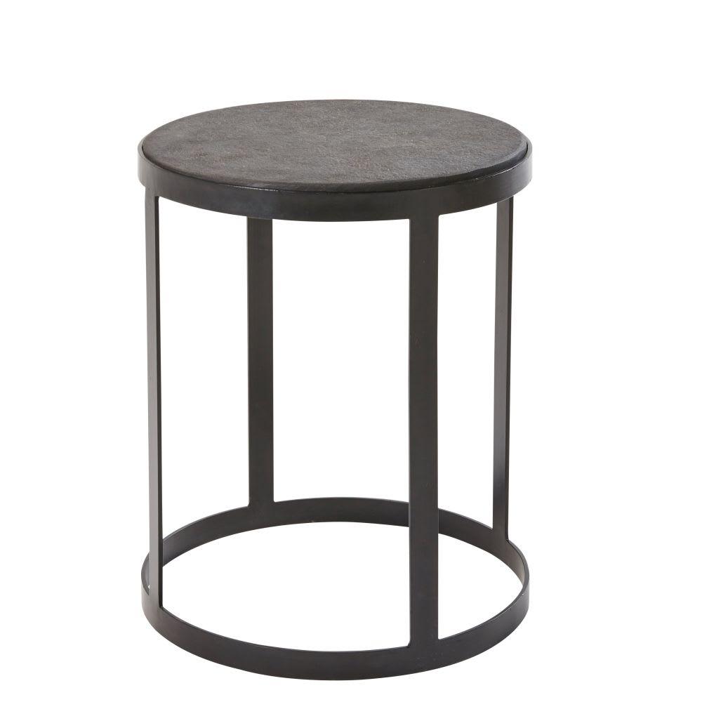 beistelltisch aus metall und stein schwarz padang. Black Bedroom Furniture Sets. Home Design Ideas