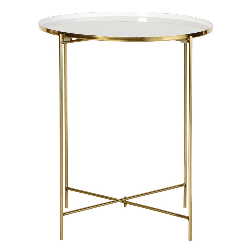 beistelltisch aus metall wei und goldfarben dahlias. Black Bedroom Furniture Sets. Home Design Ideas