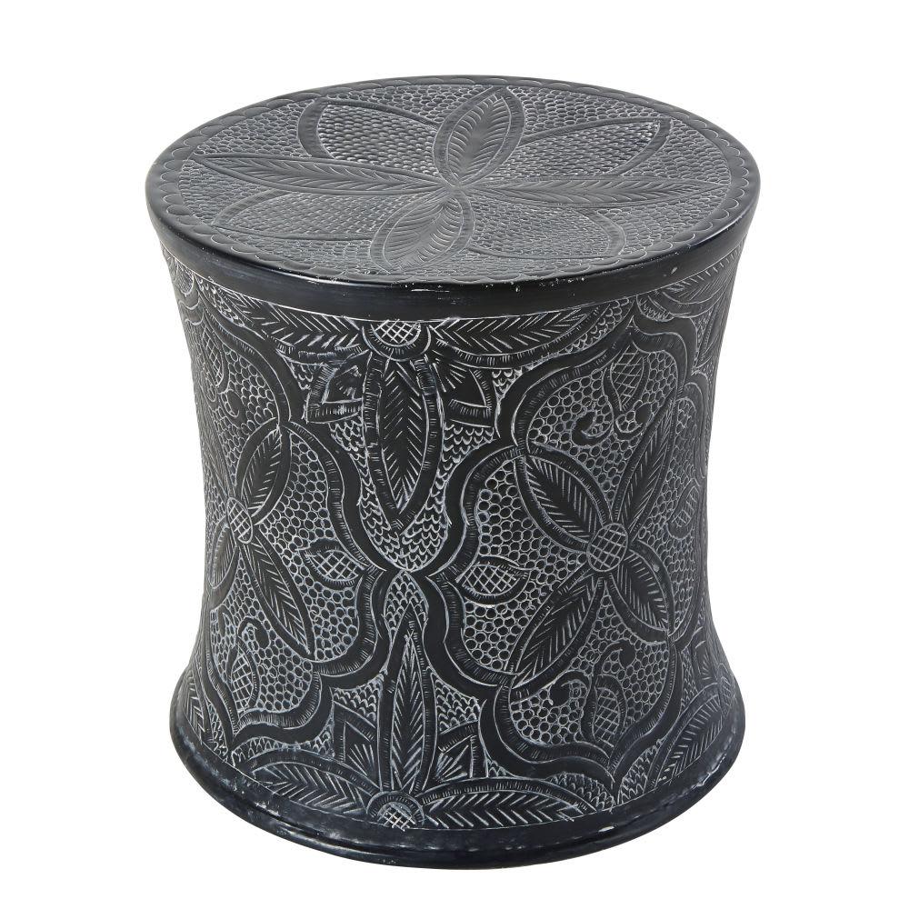 beistelltisch aus verziertem metall anthrazitgrau macha. Black Bedroom Furniture Sets. Home Design Ideas