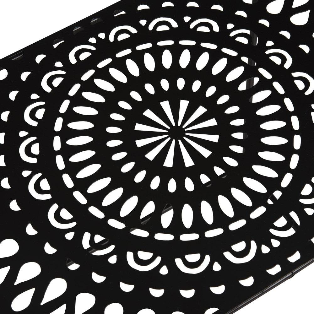 beistelltisch mit lochmuster aus metall schwarz adhira. Black Bedroom Furniture Sets. Home Design Ideas