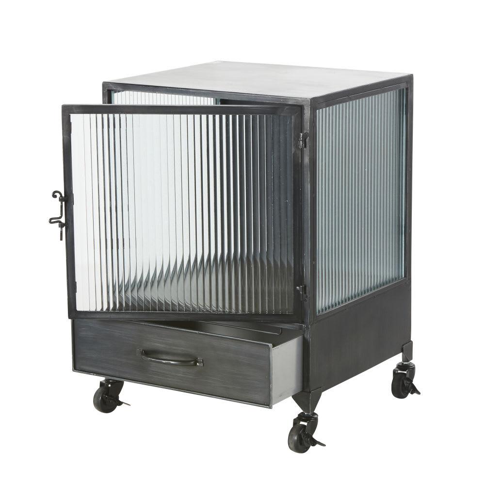beistelltisch mit rollen aus schwarzem metall und. Black Bedroom Furniture Sets. Home Design Ideas