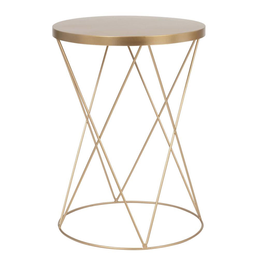 beistelltisch rund aus mattgoldenem metall lamberto. Black Bedroom Furniture Sets. Home Design Ideas