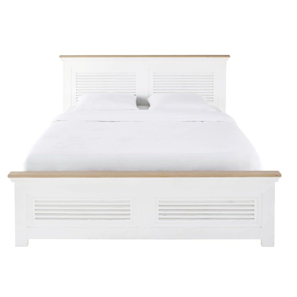 Bett 160x200 Aus Massivem Mangoholz Weiss Cezembre Maisons Du Monde