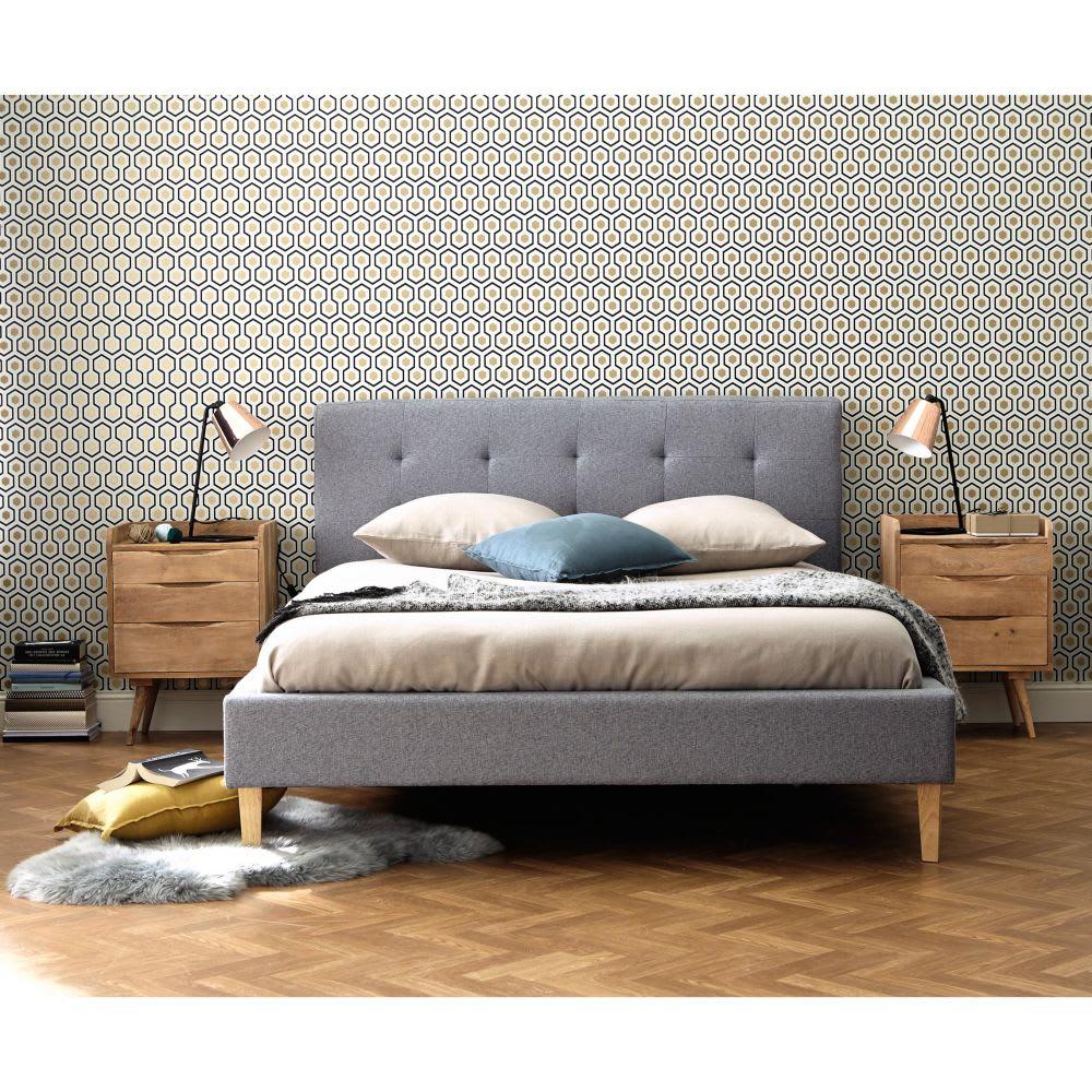 bett aus holz und stoff grau 160x200 brent maisons du monde. Black Bedroom Furniture Sets. Home Design Ideas