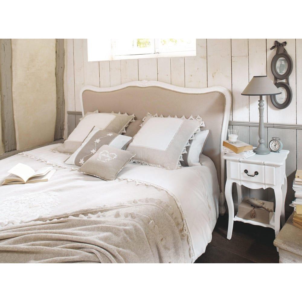 bett kopfteil aus massivholz und baumwolle b 140 cm. Black Bedroom Furniture Sets. Home Design Ideas