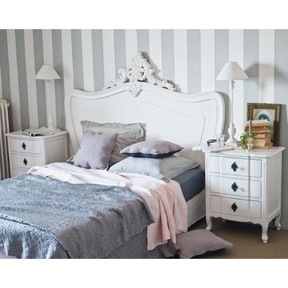bett kopfteil b 140 cm wei comtesse maisons du monde. Black Bedroom Furniture Sets. Home Design Ideas