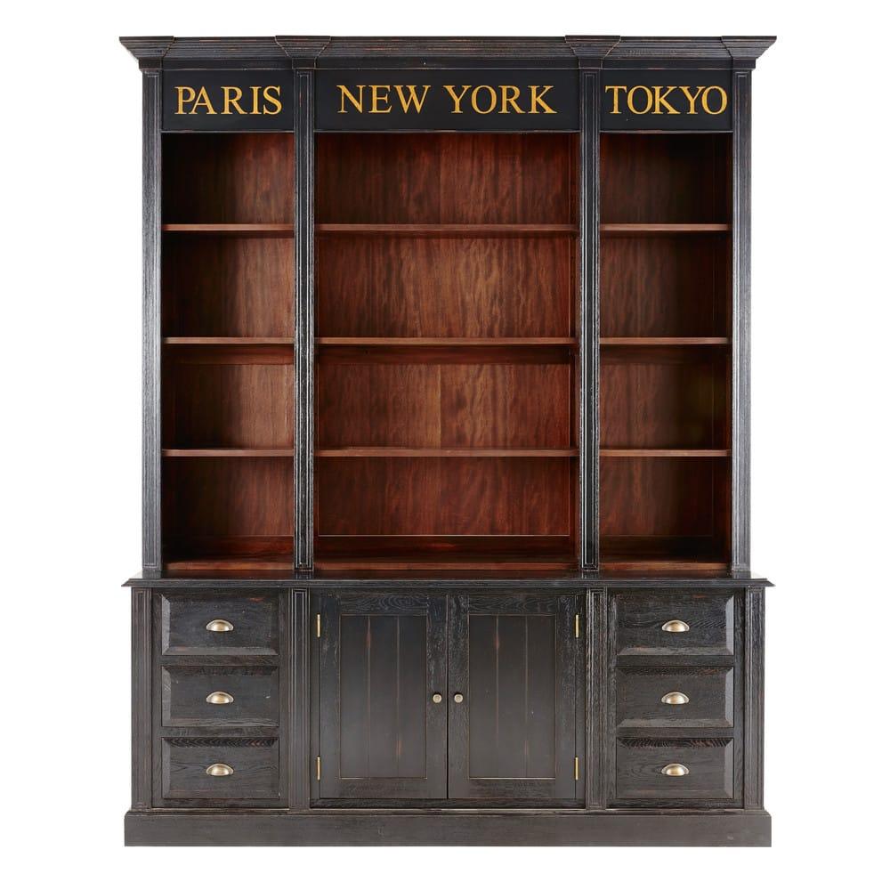 Bibliothèque 2 portes 6 tiroirs noire Haussmann | Maisons du Monde