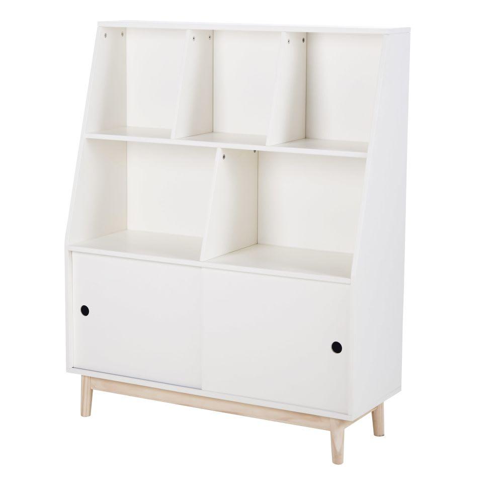 Biblioth que 2 portes coulissantes blanche joy maisons du monde - Bibliotheque porte coulissante ...
