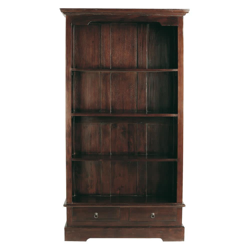 Bibliothèque 2 tiroirs en mahogany massif Cubana | Maisons du Monde