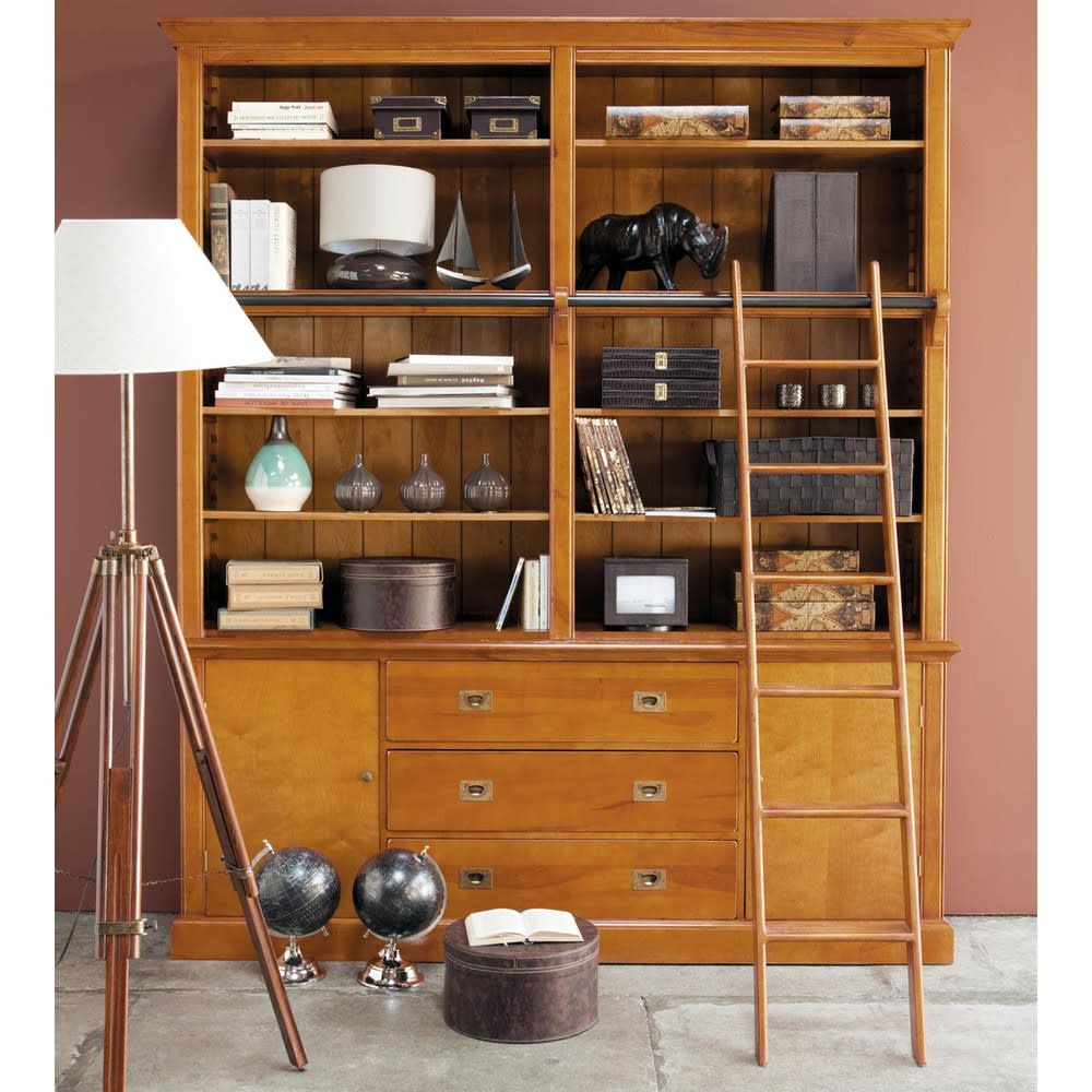 biblioth que 3 tiroirs 2 portes avec chelle voyage. Black Bedroom Furniture Sets. Home Design Ideas