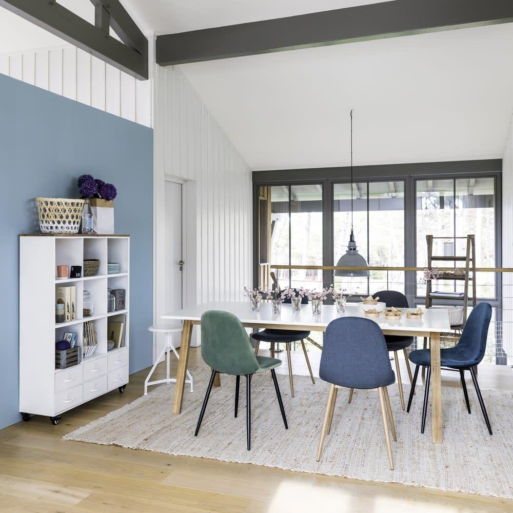 biblioth que roulettes en m tal blanc et sapin bruce maisons du monde. Black Bedroom Furniture Sets. Home Design Ideas