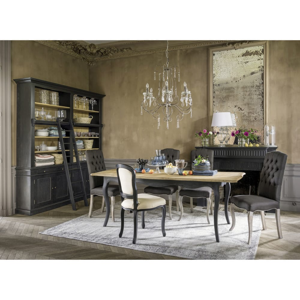 biblioth que avec chelle en pin massif noir versailles maisons du monde. Black Bedroom Furniture Sets. Home Design Ideas
