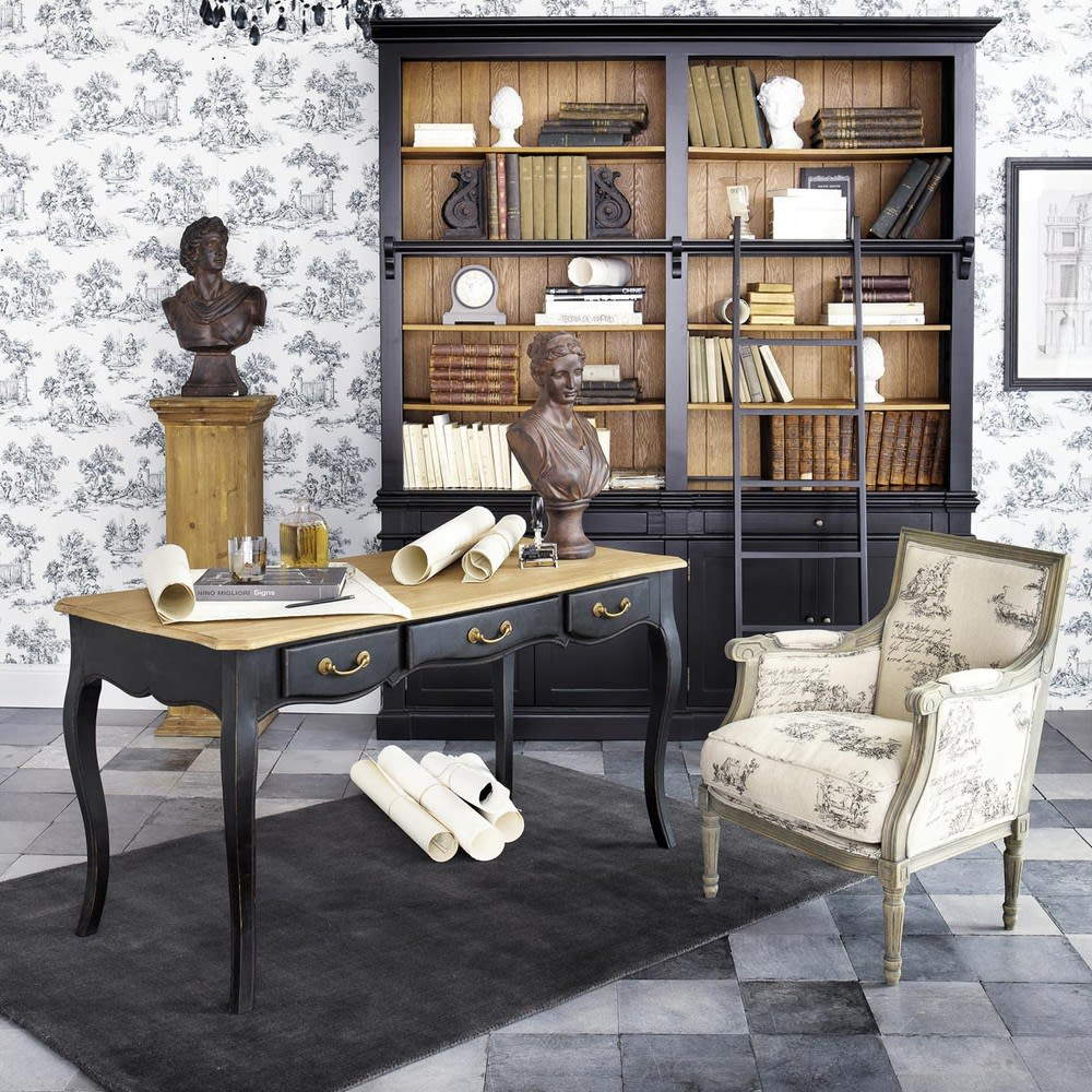 biblioth que avec chelle en pin massif noir versailles. Black Bedroom Furniture Sets. Home Design Ideas