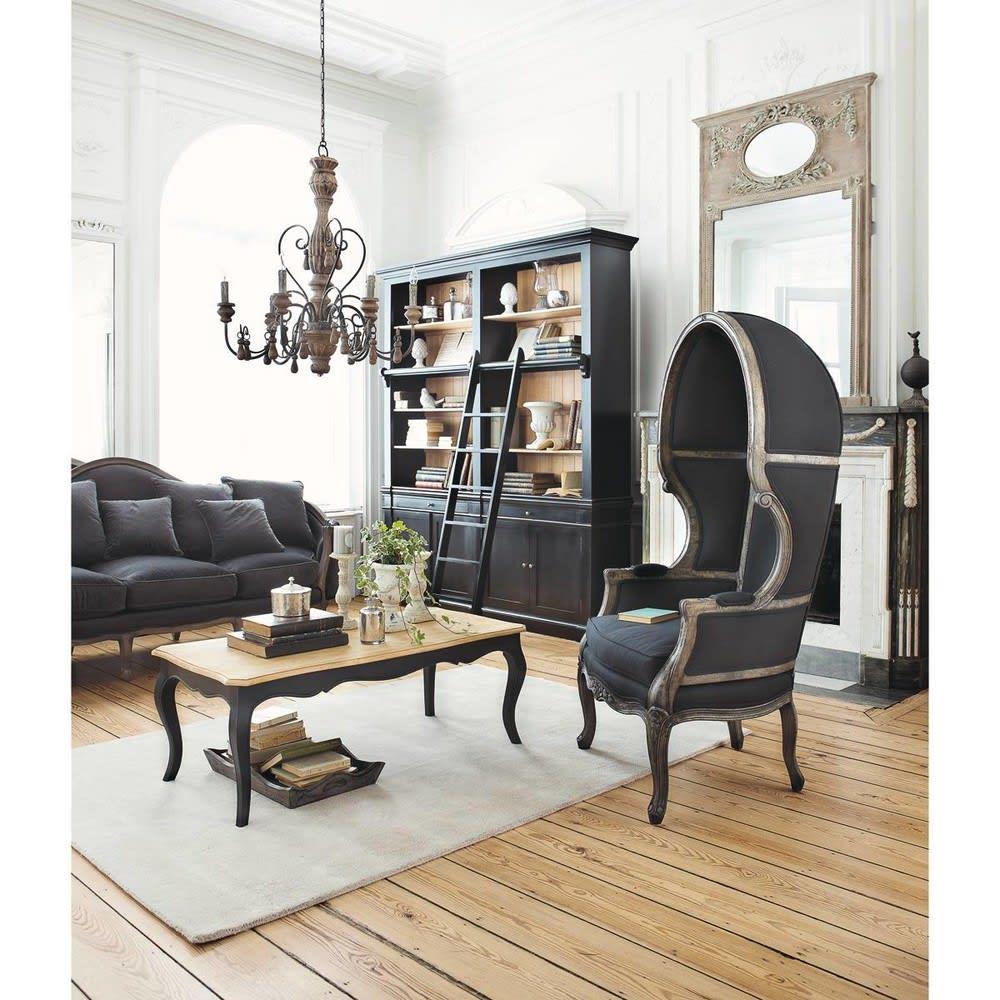 Biblioth que avec chelle en pin massif noir versailles maisons du monde for Meuble bibliotheque avec echelle