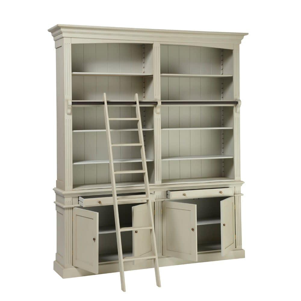 Biblioth que avec chelle grise amandine maisons du monde for Meuble bibliotheque avec echelle
