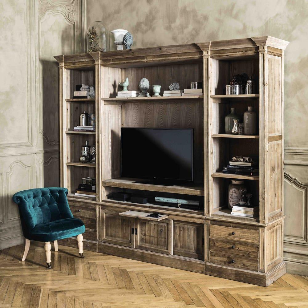 Biblioth que meuble tv en pin massif recycl passy - Bibliotheque meuble tv ...