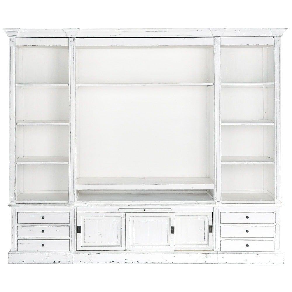 biblioth que meuble tv en pin massif recycl ivoire passy. Black Bedroom Furniture Sets. Home Design Ideas