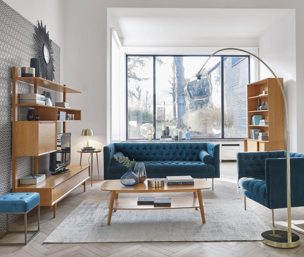 biblioth que vintage en ch ne massif portobello maisons. Black Bedroom Furniture Sets. Home Design Ideas