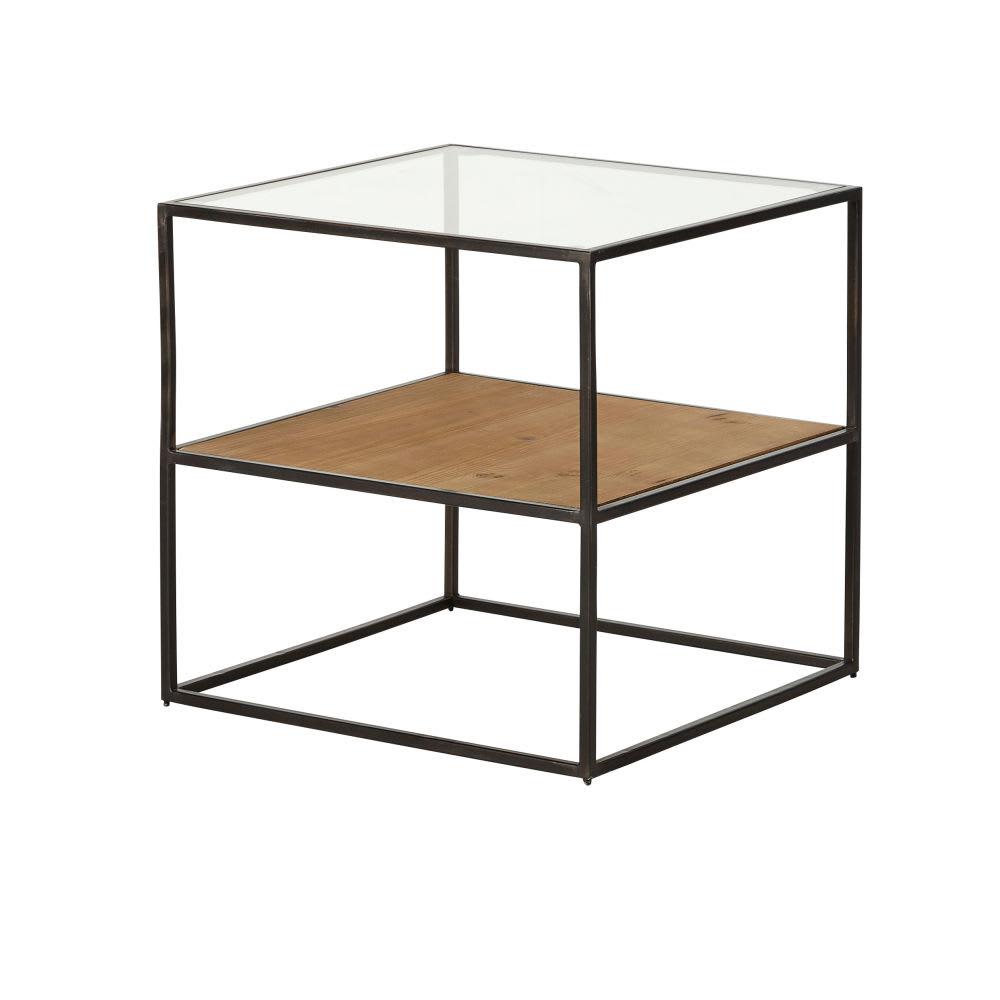 Bijzettafel Metaal Glas.Bijzettafel Van Glas En Zwart Metaal Chester Maisons Du Monde
