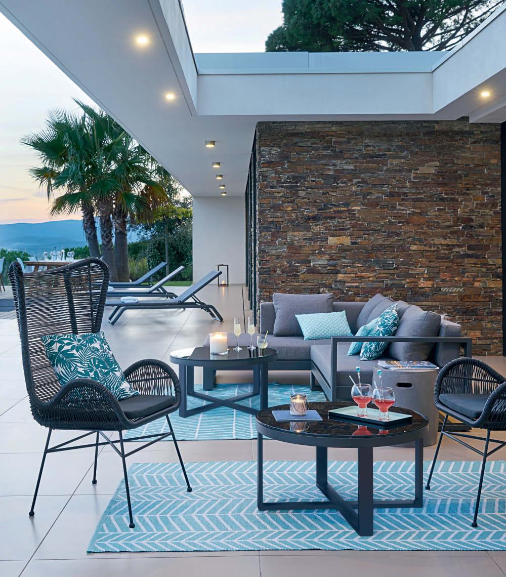 Black 4/5-Seater Aluminium Garden Corner Sofa Thetis ...