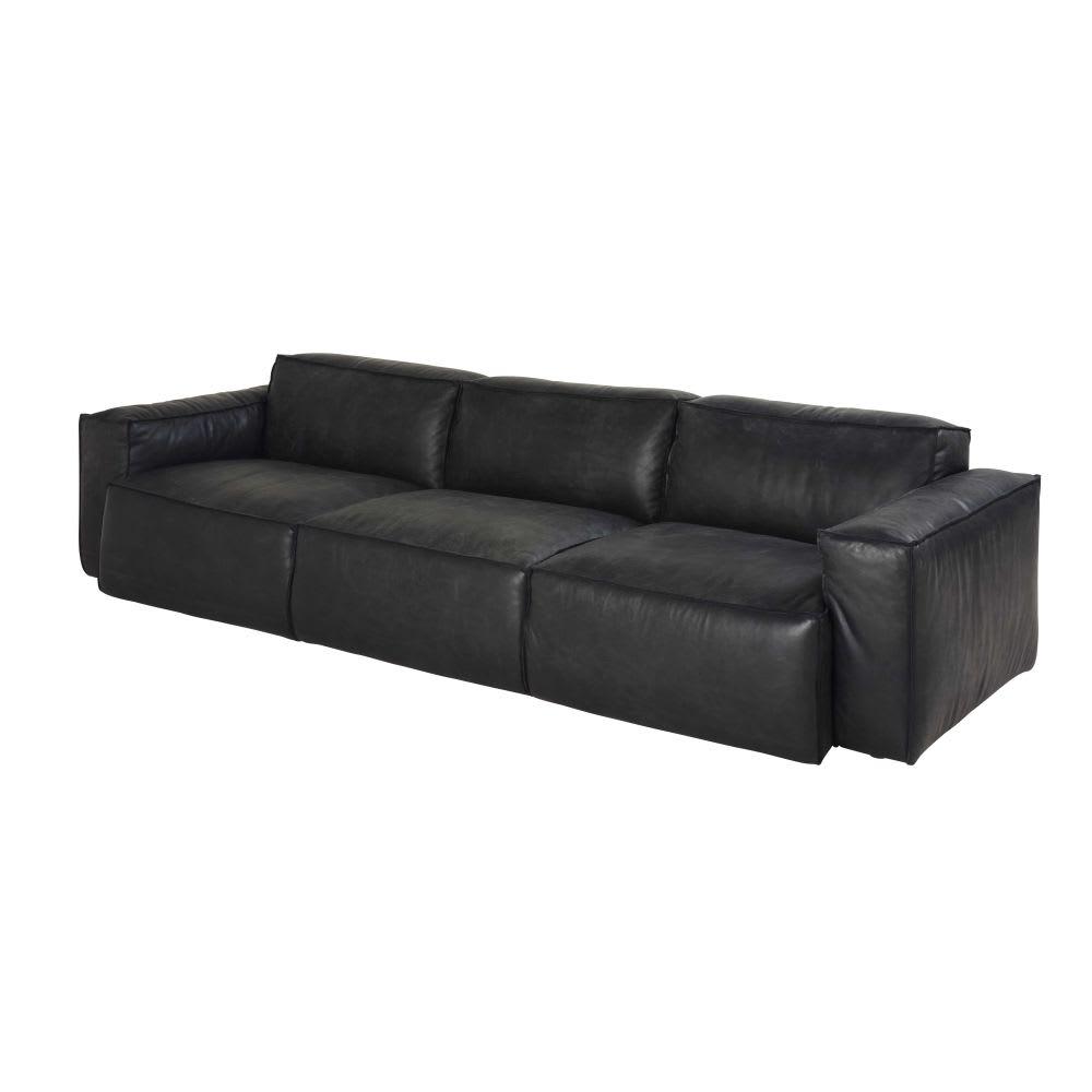 Black 4-Seater Leather Sofa Jupiter | Maisons du Monde