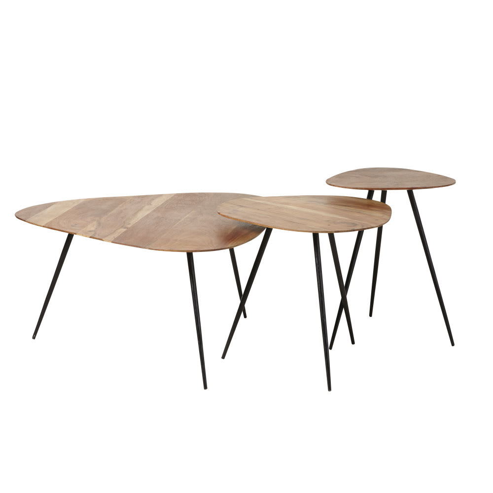 Black Metal And Acacia Nesting Tables Gingerall