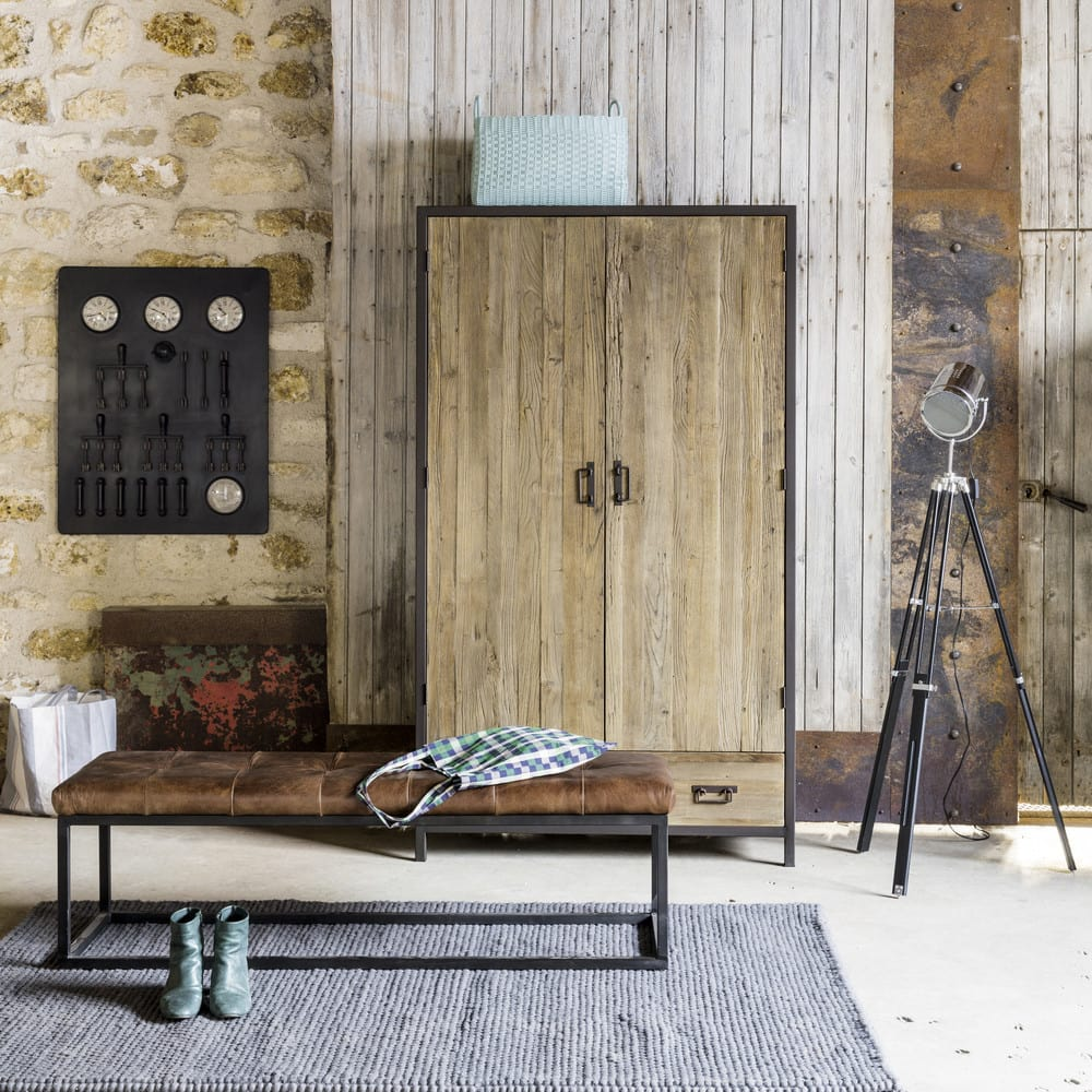 Black Metal And Brown Leather Bedroom Bench Alezan