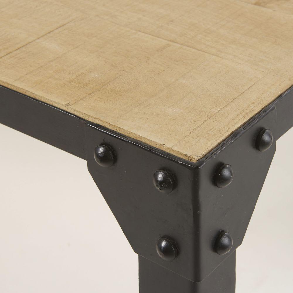 Black Solid Wood Coffee Table: Black Metal And Solid Mango Wood Coffee Table Factory