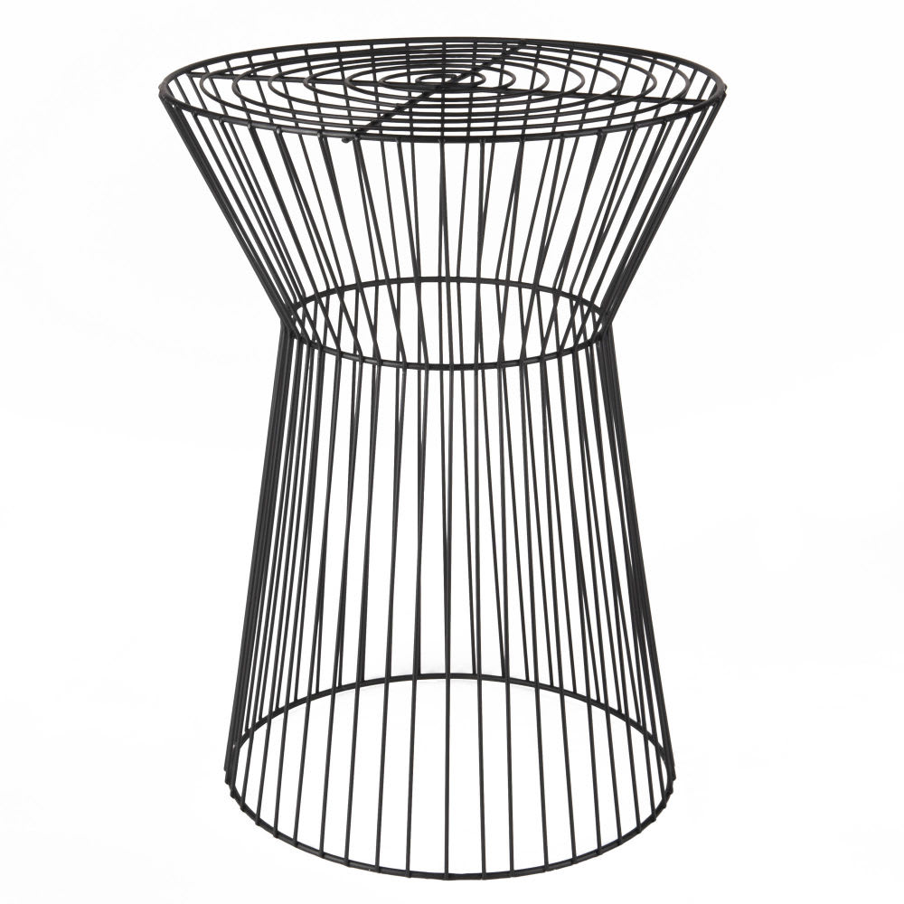 Black metal wire side table anori