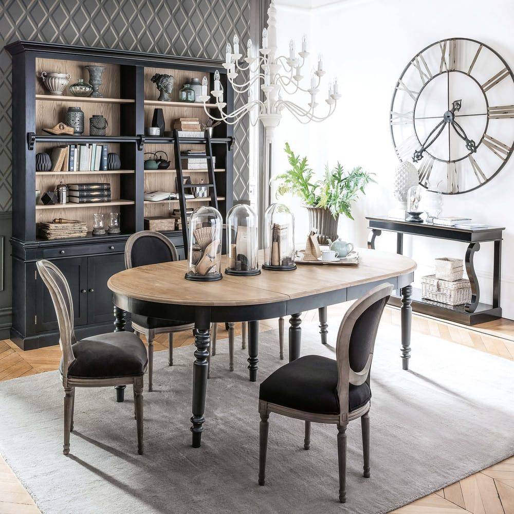 Black Solid Pine Bookcase with Ladder Versailles | Maisons du Monde
