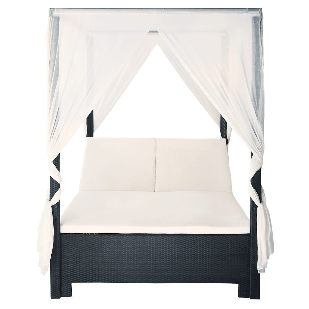 Black Wicker Outdoor Four Poster Bed With Cushions 150 X 210 Miami