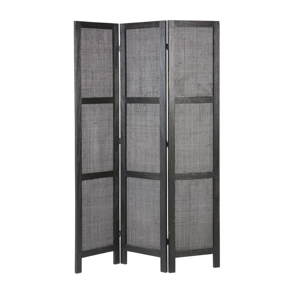 Black woven pine and rattan screens camila