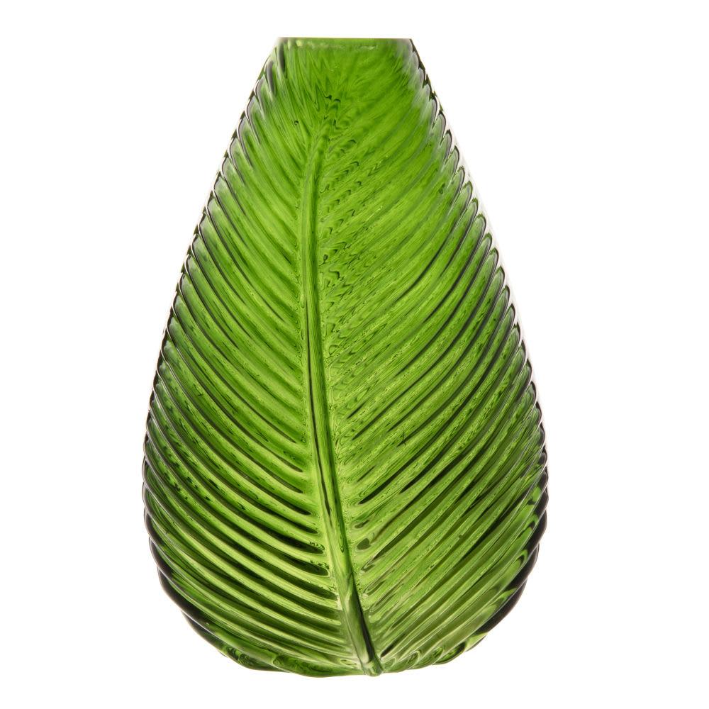 Blatt Vase Aus Getöntem Glas Grün H22 Maisons Du Monde