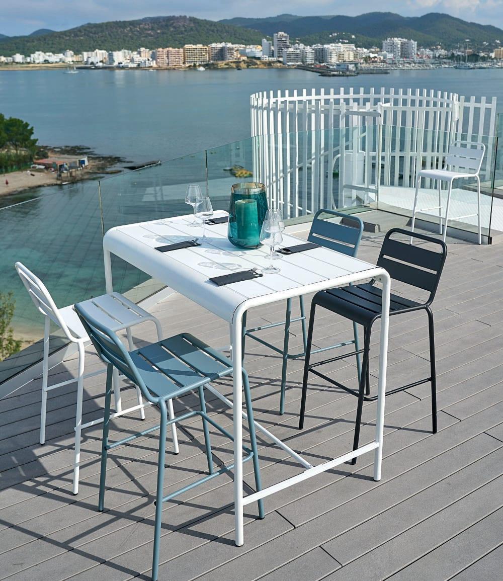 Blue Grey Metal Garden Bar Chair