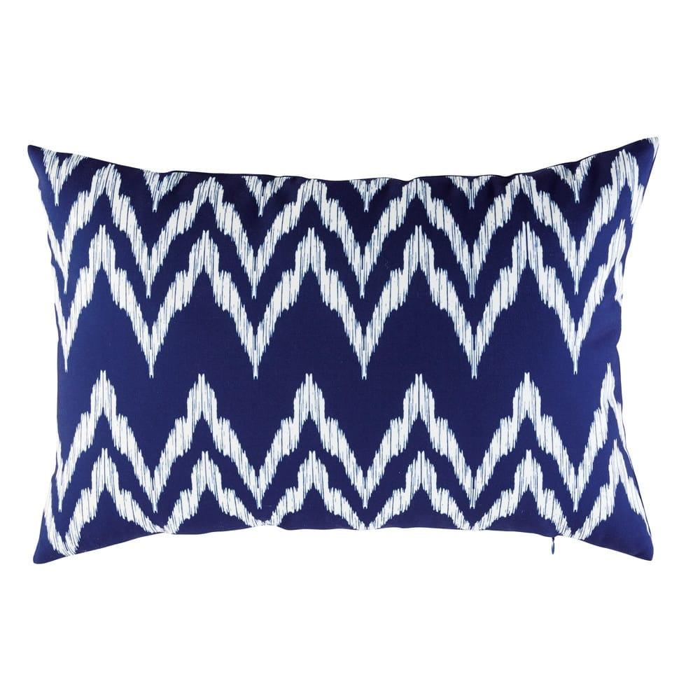 Blue Outdoor Cushion With White Graphic Motifs 40x60 Maisons Du Monde