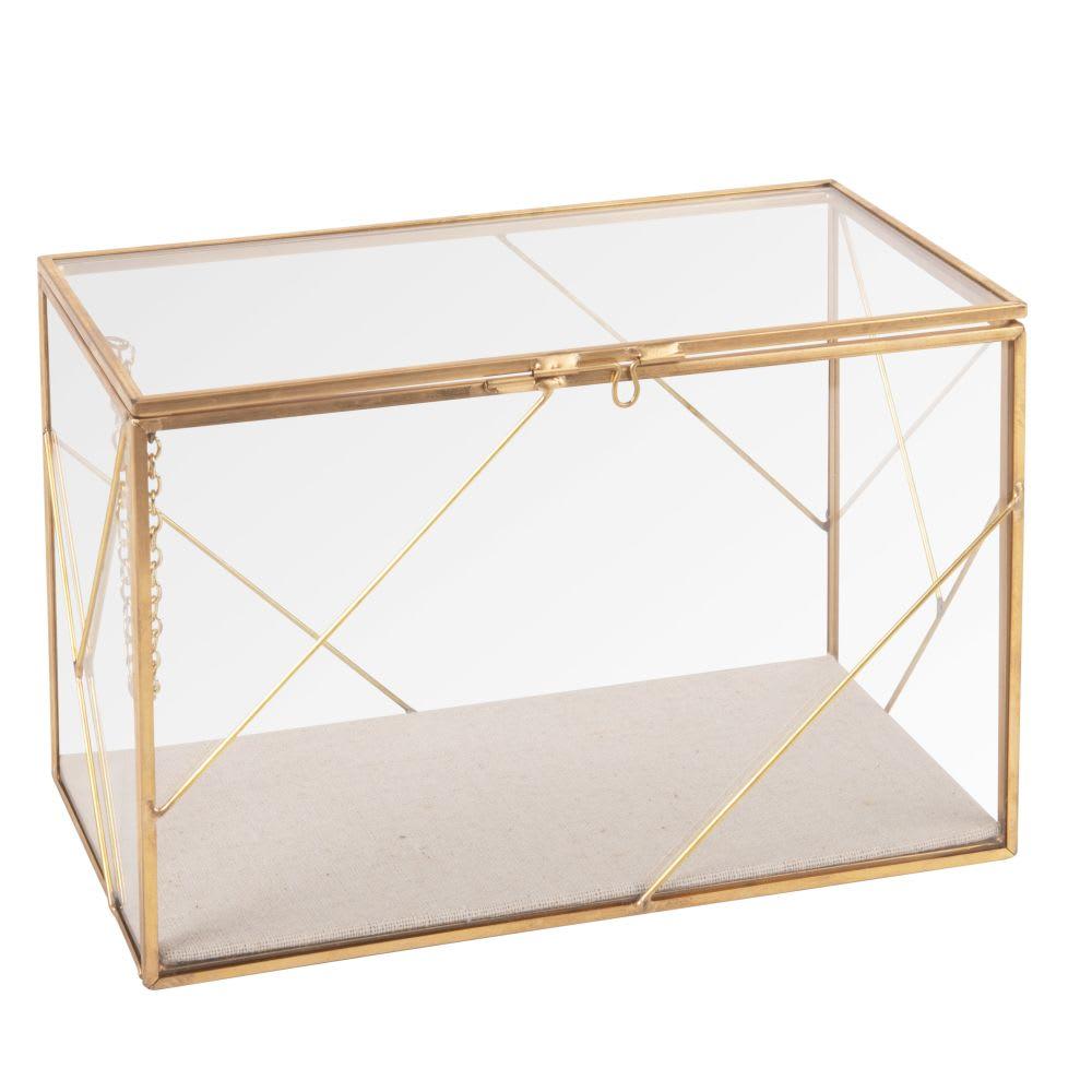 Boîte à bijoux en métal doré et verre | Maisons du Monde