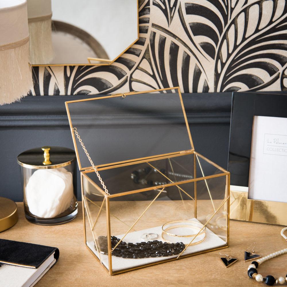 bo te bijoux en m tal dor et verre maisons du monde. Black Bedroom Furniture Sets. Home Design Ideas