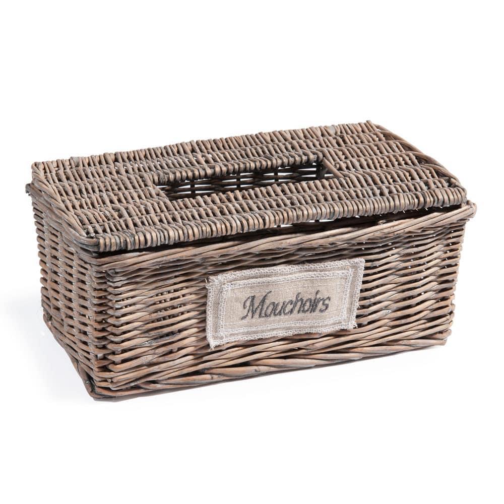 Boîte de mouchoirs vannerie H 11 cm Etiquette | Maisons du Monde