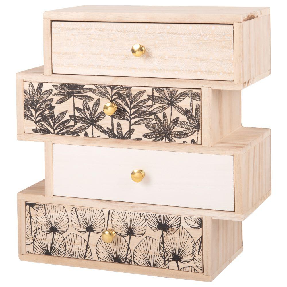 bo te de rangement 4 tiroirs motifs maisons du monde. Black Bedroom Furniture Sets. Home Design Ideas