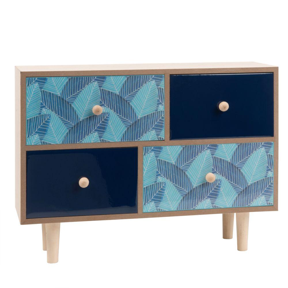 bo te de rangement 4 tiroirs imprim feuilles maisons du. Black Bedroom Furniture Sets. Home Design Ideas
