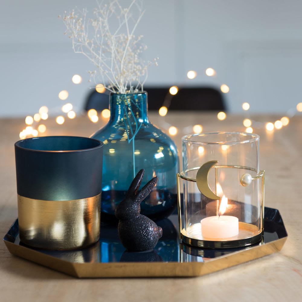 bougeoir en verre support m tal dor motif lune moonlight. Black Bedroom Furniture Sets. Home Design Ideas