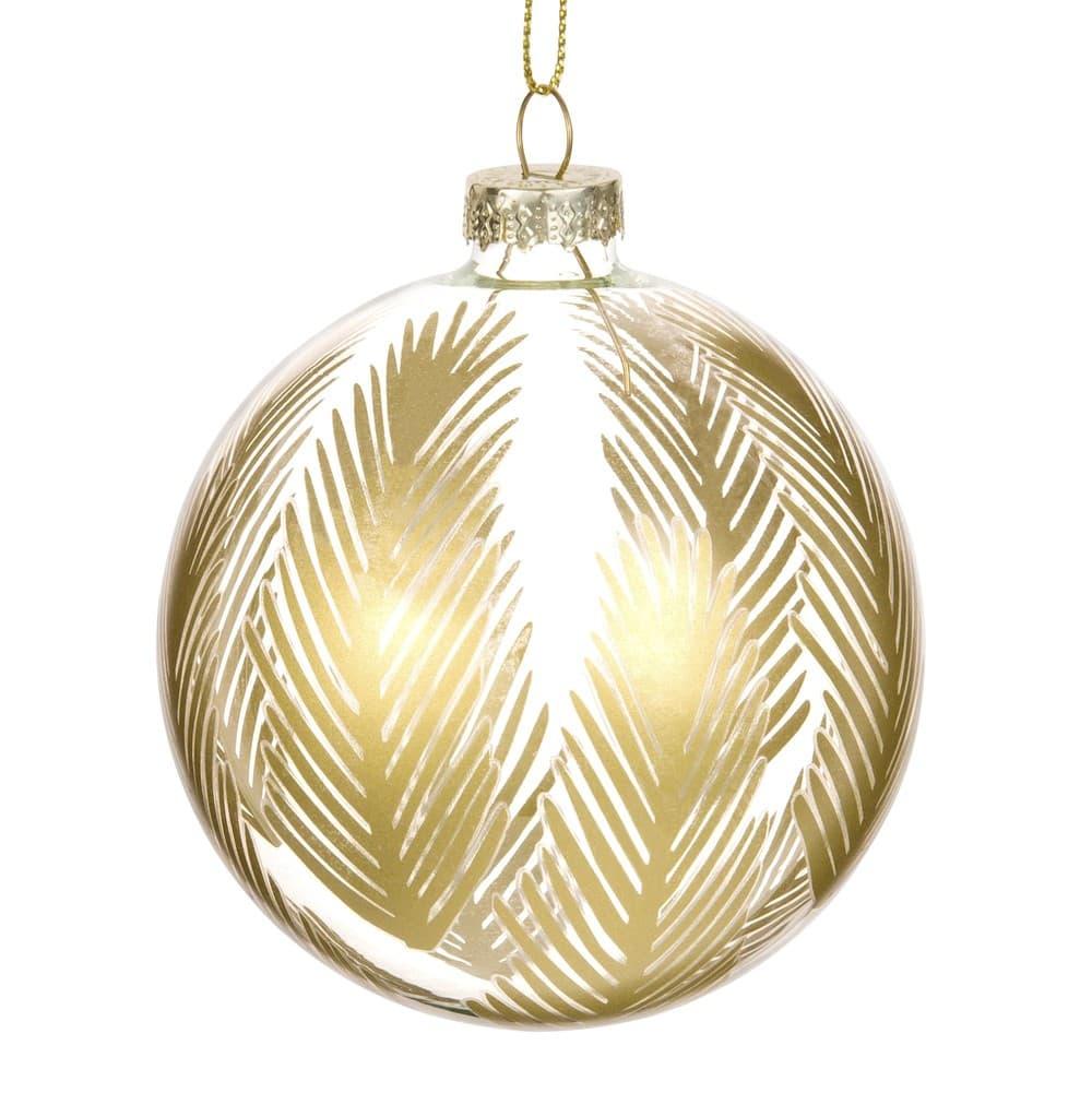 Boule De Noël En Verre Imprimé Feuilles De Palmier Doré Maisons Du