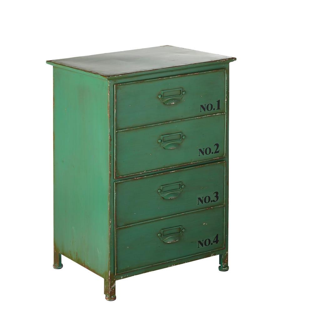 bout de canap 2 tiroirs en m tal vert botanique maisons. Black Bedroom Furniture Sets. Home Design Ideas