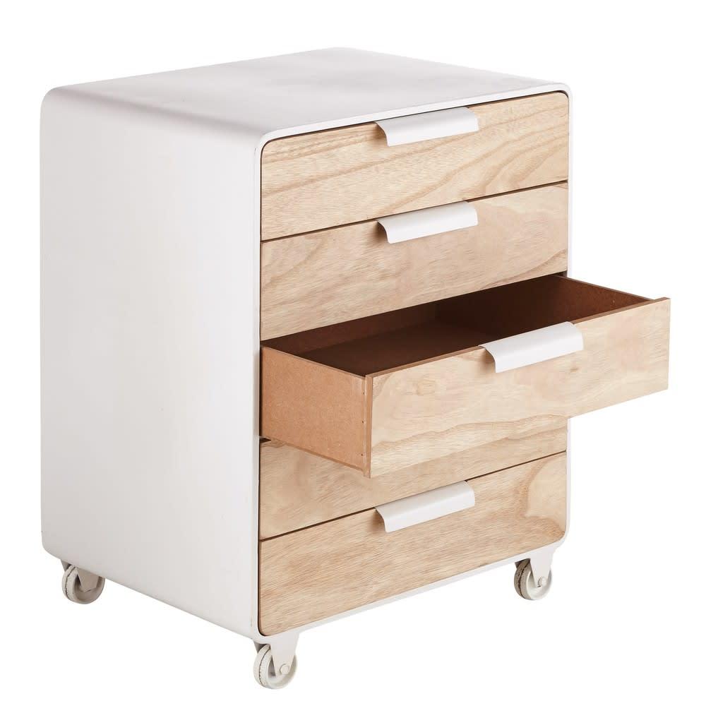 bout de canap 5 tiroirs roulettes nelson maisons du monde. Black Bedroom Furniture Sets. Home Design Ideas