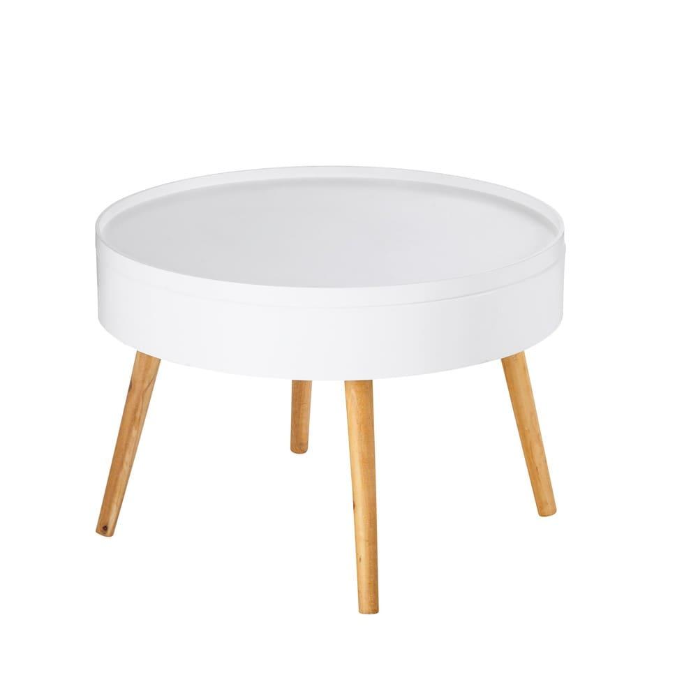 bout de canap coffre en pin blanc leonardo maisons du monde. Black Bedroom Furniture Sets. Home Design Ideas