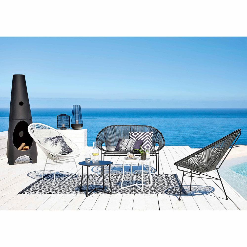 Bout de canapé de jardin en métal blanc D 45 cm Capsule | Maisons du ...